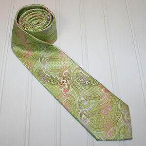VINTAGE Green Pink Paisley Silk Boho Neck Tie